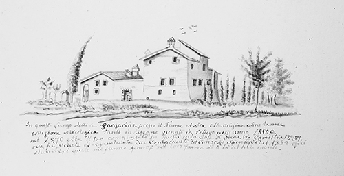 Ink drawing, 1850, Valenti Serini, country home